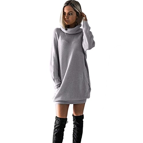 Knitted Jumper Dress - Goddessvan Womens Knitted Long Sleeve Dress O-Neck Jumper Dress Mini Dress (Gray, S)