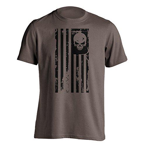 Dion Wear American Flag Skull Military T-Shirt Large Brown Savana
