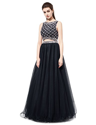 DRESSTELLS Long Prom Dress 2016 Two Pieces Tulle Evening Gowns with Beads Black Size 4