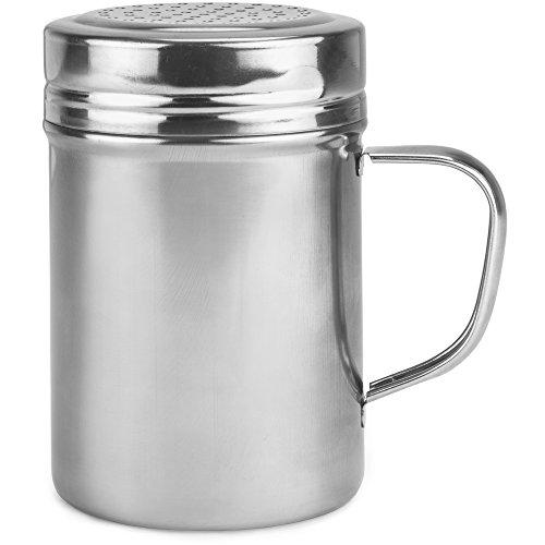 Back of House Ltd. Metal Dredge Shaker with Handle & Stainless Steel Lid, 10 Oz. - Restaurant Quality Dispenser