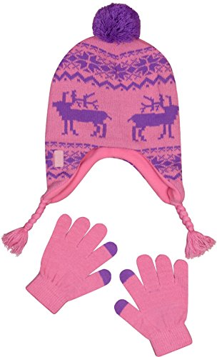 'U.S. Polo Assn. Girl\'s Peruvian Winter Hat and Glove Set, Pink/Purple, Size 7-16' (10' Reindeer)