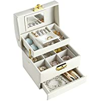 Delgeo Caja para Joyas Pendientes Pulseras Anillos, Caja Joyero con Espejo y Cajones, Cajas para Joyas Regalo…