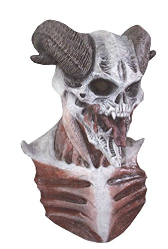 Devil Skull Demon Horned Monster Scary Latex Adult Halloween Costume Mask (Hockey Mask Halloween Costume)