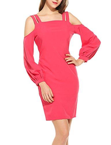 Zeagoo Women Fashion Sexy Cold Shoulder Long Lantern Sleeve Solid Pencil Short Dress Rose Red X-Large Cotton Spandex Jersey Bandeau Dress