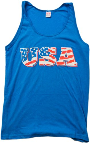 Neon USA Flag | Radical 80s American Beach Party Merica Tank Top