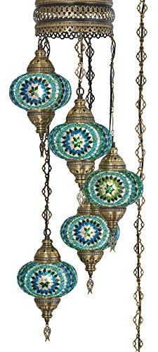 (10 Colors) Swag Plug in Light, Demmex 5 Big Globes Turkish Moroccan Mosaic Tiffany Swag Wall Plug in Ceiling Hanging Light Chandelier Lighting, 15feet Chain Cord North American Plug - Light Hanging Wall