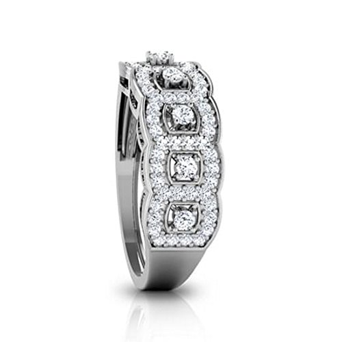 18K Or Blanc, 0,45carat Diamant Taille ronde (IJ | SI) en diamant