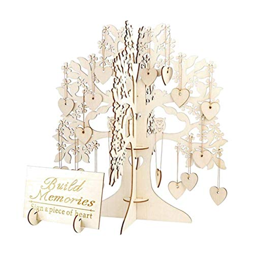 Libobo1Pcs Wedding Guest Book Tree Wooden Hearts Pendant Drop Ornaments Party Decoration
