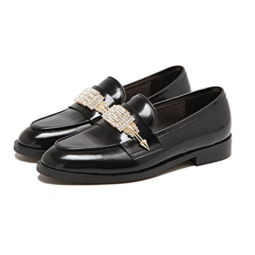 Black For Stylish Oxford Loafers On Decoration Printed Platform Metal Women Slip Shoes Toe T JULY 6HxBq7