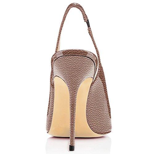 da Slingback Tacco Fibbiaco Sandali Litchi Con Heels Donna Caviglia ELASHE 10CM Scarpe Marrone Cinturino Gattino Sg5wIq