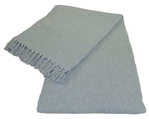 Kakaos Cotton Solid Color Yoga Blankets with Matching Tassels (Light Blue)