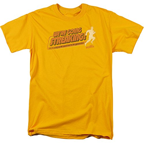 Trevco Men's Old School Short Sleeve T-Shirt, Gold, - Luke Pritchard