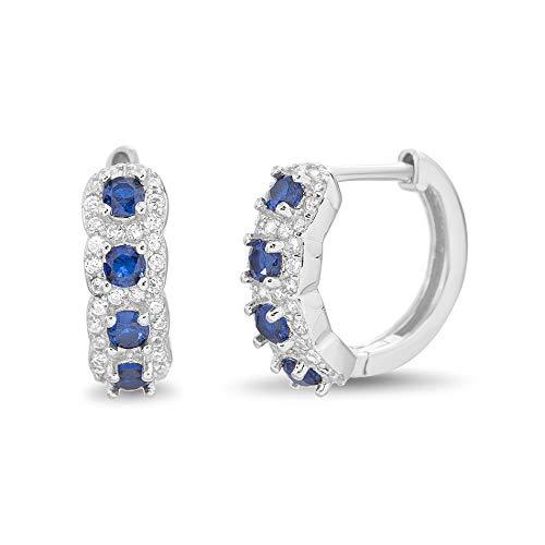 Jewelry Sapphire Cubic Zirconia (MIA SARINE Simulated Blue Sapphire and Cubic Zirconia Bridal Small Huggie Hoop Earring in Rhodium Plated 925 Sterling Silver)