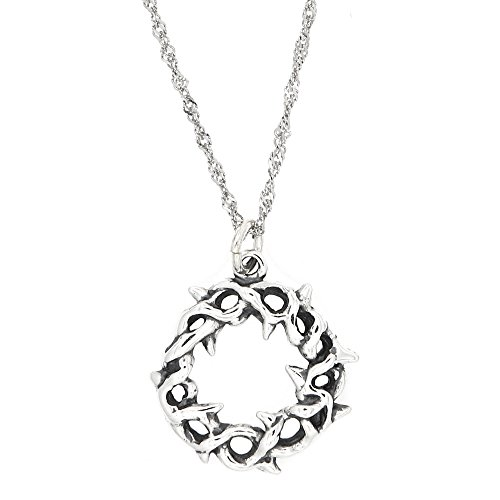 Lgu Sterling Silver Oxidized One Sided Crown of Thorns Charm with Thin Singapore Necklace (16 Inches)]()