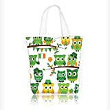 Women's Canvas Tote Bag, Irish with Leprechaun Hats on Trees Shamrock Leavesshoe Green and White Ladies Top-handle Handbags, work school Shoulder Bag W11xH11xD3 INCH