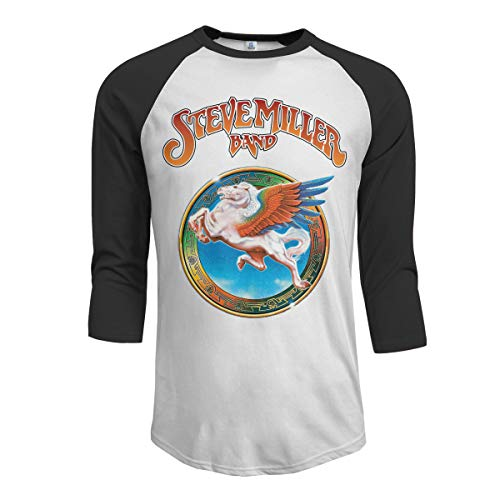 (MarshallD Men's Steve Miller Band 3/4 Sleeve Raglan Baseball Tee Black L)