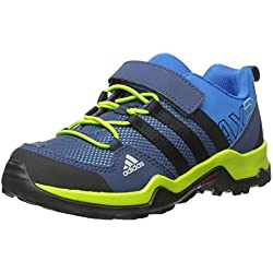adidas Outdoor AX2 CF Hiking Shoe (Little Kid/Big Kid), Shock Blue/Black/Semi Solar Slime, 3 M US Little Kid