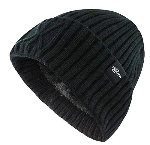 70b94680073 Fear0 Unisex Extreme Warm Black Cuff Wool Insulated Outdoor Winter Sport  Skullies Watch Cap Beanie Hat