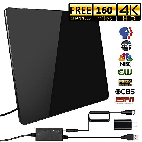 [2019 Upgraded] HDTV Antenna,Indoor Digital TV Antennas Amplified 160+ Miles Range Smart Amplifier Signal Booster for 1080P 4K Free TV Channels, Amplified 17ft Coax Cable]()