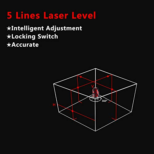 Laser Level Tool Self Leveling Laser 5 Line 6 Point 360°Rotary Kit Vertical and Horizontal Cross-Line Laser Levels with Outdoor Mode and Tilt Mode by DEKOPRO (Image #7)