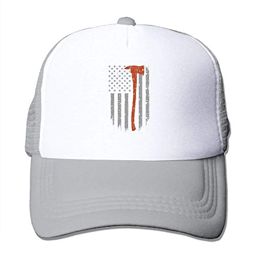 Stainless Steel Thin Gas Caps - Adult's Thin Red Line Axe Firefighter Flag Youth Mesh Baseball Cap Summer Adjustable Trucker Hat