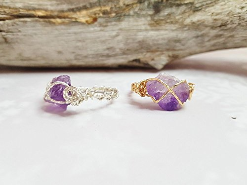 Raw Amethyst Rings For Women ~ Boho Wire Wrapped Crystal Ring ~ Copper, Sterling Silver, 14k Gold & 12k Rose Gold Wire ~ Simple Promise Ring