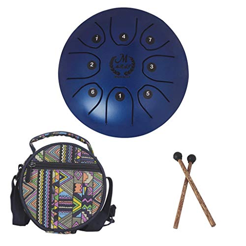 Wenini Steel Tongue Drum, Steel Tongue Drum, Happy Fanyin Drum Forget Worry Drum Empty Drum 5.5 Inch Toy for Kids Adult , Silicone Foot Pad, Wooden Drum Stick with National Style Drum Bag (Blue)