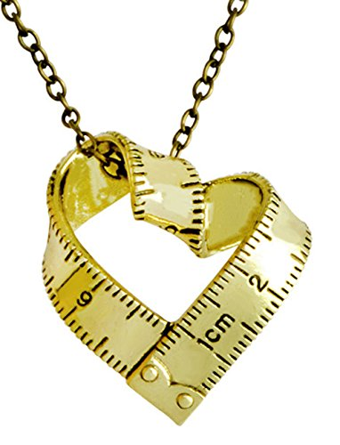elry Vintage Gold/Silver Tape Measure Twisted Heart Shaped Ruler Pendant Necklace (Gold) ()