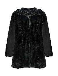 Luxury Divas Faux Fur Plush Swing Jacket With Hood
