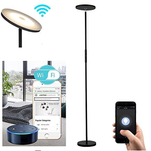 Smart LED torchiere lamp for Living Room, Bedroom, Alexa Voice Control Floor lamp, Adjustable Head, WiFi Smart, Compatible with Amazon Alexa,Google Home - Black