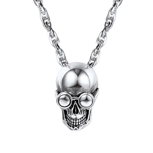 PROSTEEL Skull Necklace Stainless Steel Skeleton Pendant & Chain Vintage Goth Gothic Punk Women Men Jewelry Gift