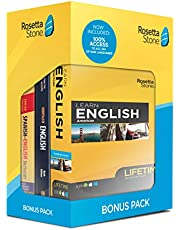 Rosetta Stone Lifetime Access: Learn English | Bonus Pack Bundle | Lifetime Access + Grammar Guide + Dictionary Book Set