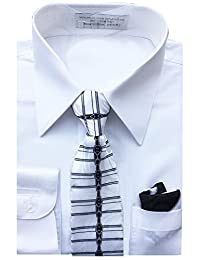 Sunrise Outlet Boy's Basic Dress Shirt with Tie and Hanky Set