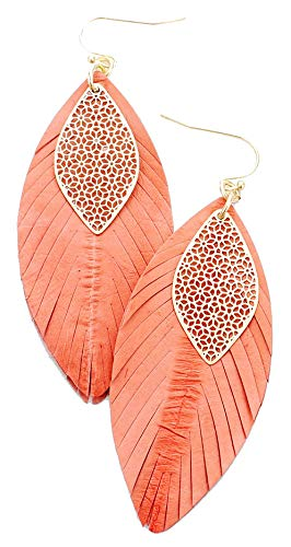 Orange and Gold Filigree Leaf Genuine Leather Earrings, 1.25