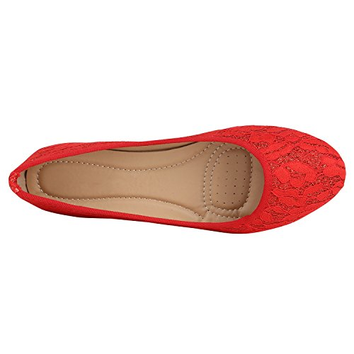 Stiefelparadies Klassische Damen Ballerinas Glitzer Slipper Übergrößen Leder-Optik Schuhe Denim Slip Ons Flats Schlupfschuhe Flandell Rot Spitze Glitzer