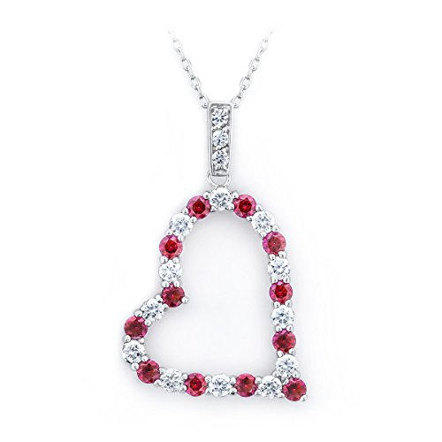 Baron Jewelry Made with Swarovski Zirconia. Large Sparkling Slanted Heart Necklace Glistening of Clear & red. Platinum Plated .925 Sterling Silver. 18