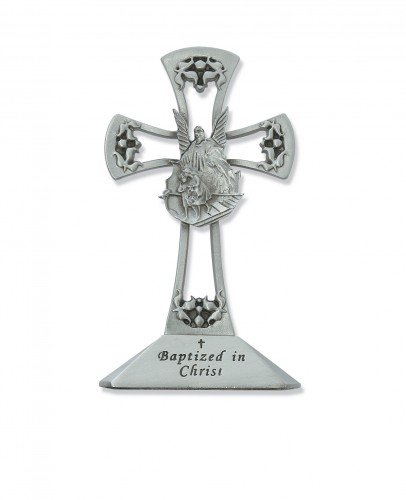4 Pewter Standing Baptism Cross D/écor Religious Art Catholic Holy Wall