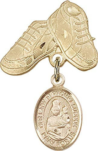 14kt Gold Filled Baby Badge with O/L of Prompt Succor Charm and Baby Boots Pin O/L of Prompt Succor is the Patron Saint of New Orleans, LA 1 X 5/8 ()