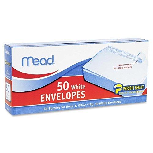 2 Pack of Mead Press-It Seal-It #10 White Envelopes, 50 Count (75024) = 100 Envelopes - Envelopes 50 Pack