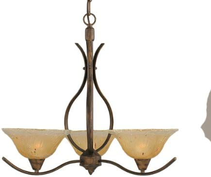 Toltec Lighting 293-BRZ-730 Swoop Three-Light Uplight Chandelier Bronze Finish with Amber Crystal Glass Shade, 10-Inch