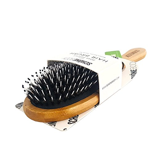 (Hair Brush, Boar Bristle Hair Brush - Natural Wooden Bamboo Helps Maintain and Control Frizzy, Unmanageable Hair, While the Pins Hair Detanlger and Massage Scalp For Healthy Hair (Eco-Friendly Paddle) )