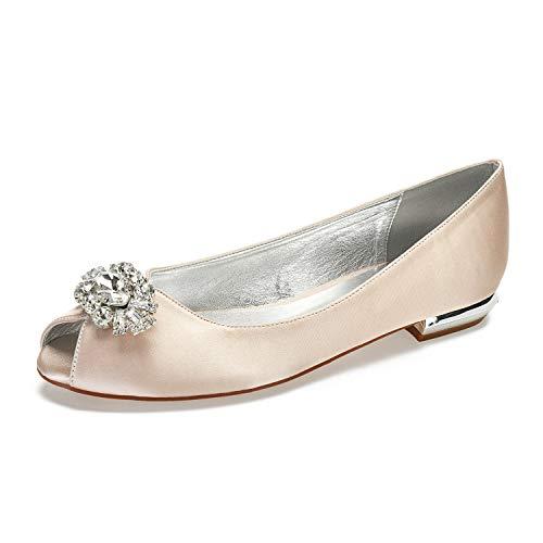 - MarHermoso Womnens Satin Peep Toe Rhinstones Slip On Flats Ballerinas Champagne
