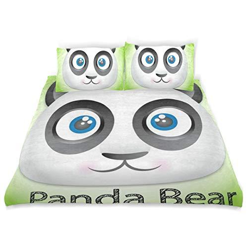 - Panda Bear Bedding 3 Piece Set Full Set 66 × 90 in Bed Quilt Cover, 2 Pillowcase Soft Microfiber Duvet Cover Set for Kids Girls Boys Twin (66