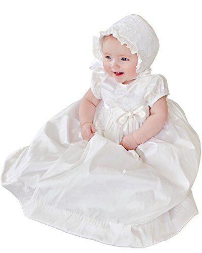 Isabella Silk and Lace Christening or Baptism Gown for Girls, Made in USA