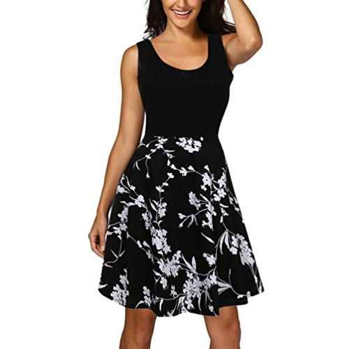 Wintialy Women Vintage Scoop Neck Mini Dress Sleeveless A-Line Cocktail Party Tank Dress -