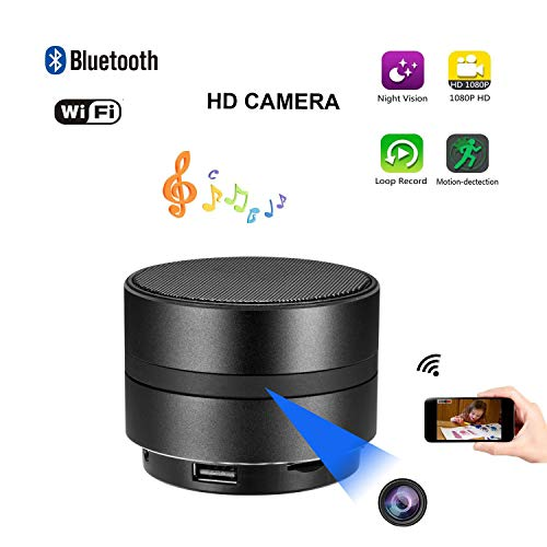 JLRKENG Bluetooth Speaker Spy Hidden Camera HD 1080P WiFi Night Vision Wireless Stereo Music Player Motion Detection Real-Time View Online Monitoring Nanny Cam for Home Security Office