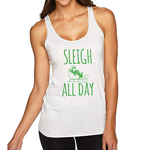 Sleigh All Day, Women's Graphic Racerback Tank Top, Funny Gift for Her, Shirts with Sayings, Yoga Tee, Envy Green