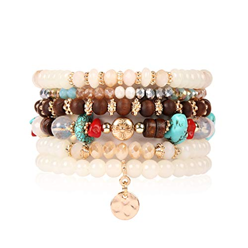 RIAH FASHION Bohemian Multi-Layer Sparkly Crystal Bead Charm Bracelet - Stretch Strand Stackable Bangle Set Tassel/Coin/Acrylic Druzy/Lava Diffuser Crescent (Bohemian Coin - Natural)