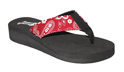 Ladies Bandana Paisley Print Sandal, RED, SIZE 9US