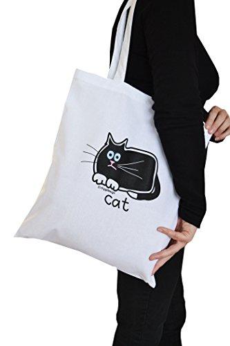 White Black bag Tote Cotton Cat UBwwxqR8